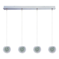 Brushed Aluminum 4 Light Adjustable Height Pendant With Green Shade From The Minx Collection - Bulbs Included