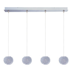 Brushed Aluminum 4 Light 5in. Wide Pendant from the Minx Collection