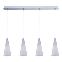 Satin Nickel / White Lava Glass 4 Light 34.25in. Wide RapidJack Pendant and Canopy from the Lava Collection