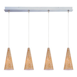 Satin Nickel / Gold Lava Glass 4 Light 34.25in. Wide RapidJack Pendant and Canopy from the Lava Collection