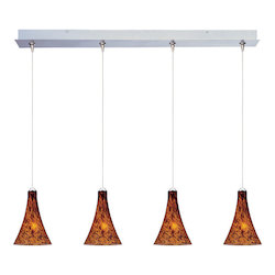 Satin Nickel / Amber Leopard Glass 4 Light 34.25in. Wide RapidJack Pendant and Canopy from the Leopard Collection