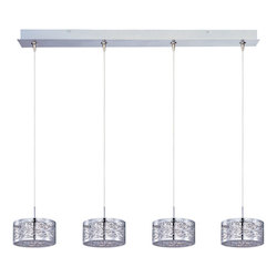 Polished Chrome 4 Light 34.25in. Wide RapidJack Pendant and Canopy from the Inca Collection