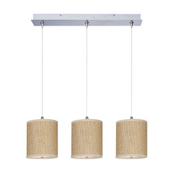 Satin Nickel with Grass Cloth Fabric 3 Light 24.5in. Wide Pendant from the Elements Collection