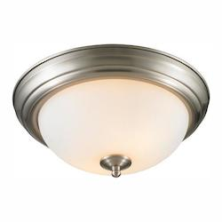 Chrome 2 Light 11In Wide Flush Mount Ceiling Fixture With Opal Shade - Golden 1260-11 PW-OP