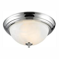 Chrome 2 Light Flush Mount Ceiling Fixture With Marbled Shade - Golden 1260-13 CH-MBL