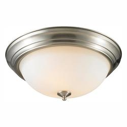 Chrome 3 Light 15In Wide Flush Mount Ceiling Fixture With Opal Shade - Golden 1260-15 PW-OP