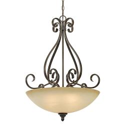 Peppercorn Three Light Bowl Pendant From The Riverton Collection - Golden 1567-BP3 PC