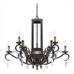 Fired Bronze Valencia Two Tier Chandelier With 9 Lights - Golden 2049-9 FB