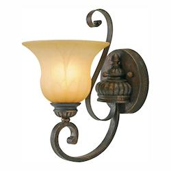 Leather Crackle Single Light Wall Sconce From The Mayfair Collection - Golden 7116-1W LC