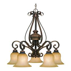 Leather Crackle Mayfair 5 Light Dining Room Chandelier - Golden 7116-D5 LC
