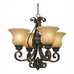 Leather Crackle Mayfair 4 Light Mini Chandelier - Golden 7116-GM4 LC