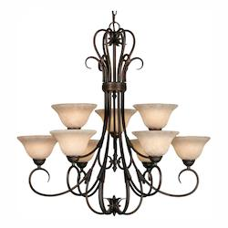 Rubbed Bronze Nine Light Chandelier From The Homestead Collection - Golden 8606-9 RBZ-TEA