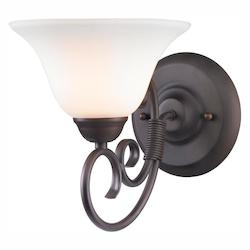 Rubbed Bronze Homestead 1 Light Bathroom Sconce With White Shade - Golden 8606-BA1 RBZ-OP