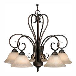 Rubbed Bronze Five Light Chandelier From The Homestead Collection - Golden 8606-D5 RBZ-TEA