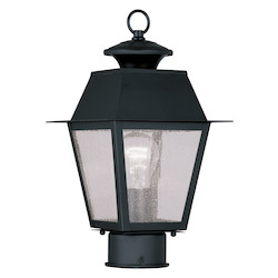 Black Mansfield Post Light with 1 Light