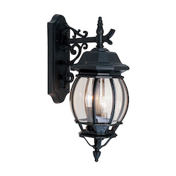 Black 3 Light 180W Down Lighting Wall Sconce with Candelabra Bulb Base and Clear Beveled Glass from Frontenac Series