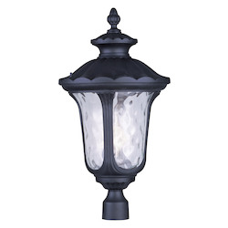 Black Oxford 26.5In. Height 3 Light Outdoor Post Light