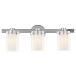 Brushed Nickel 3 Light 180 Watt 22.5in. Wide Bathroom Fixture with Clear Glass from the Manhattan Collection