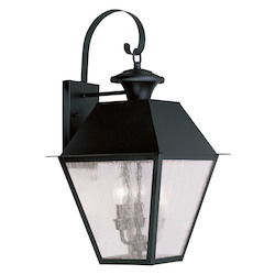 Black Mansfield Large Outdoor Wall Sconce with 3 Lights