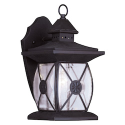 Bronze 1 Light 100W Outdoor Wall Sconce with Medium Bulb Base and Clear Beveled Glass from Providence Series