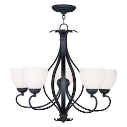 Black Brookside Satin White Glass Up Lighting 1 Tier Chandelier with 5 Lights