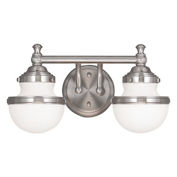 Brushed Nickel Oldwick 2 Light Bathroom Vanity Light