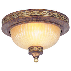 Palacial Bronze with Gilded Accents 2 Light 80W Flushmount Ceiling Light with Medium Bulb Base and Hand Crafted Gold Dusted Art Glass from Seville Series