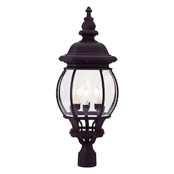 Black 4 Light 240W Post Light With Candelabra Bulb Base And Clear Beveled Glass From Frontenac Series