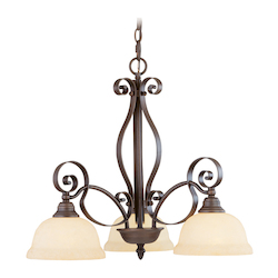 Imperial Bronze 3 Light 300W Chandelier with Medium Bulb Base and Vintage Scavo Glass from Manchester Series