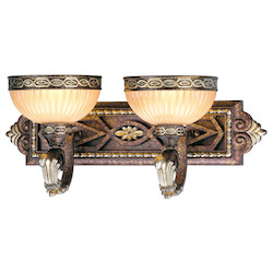Palacial Bronze with Gilded Accents 2 Light 120W Bathroom Light with Medium Bulb Base and Hand Crafted Gold Dusted Art Glass from Seville Series