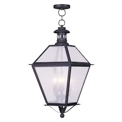 Bronze 4 Light 240 Watt 15In. Wide Outdoor Pendant With Seeded Glass From The Waldwick Collection