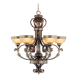 Palacial Bronze With Gilded Accents 6 Light 360W Chandelier With Medium Bulb Base And Hand Crafted Gold Dusted Art Glass From Seville Series