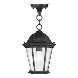 Black 1 Light 100W Outdoor Pendant with Medium Bulb Base and Clear Beveled Glass from Hamilton Series