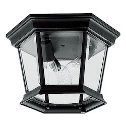 Black 3 Light 180W Flushmount Ceiling Light with Candelabra Bulb Base and Clear Beveled Glass from Hamilton Series