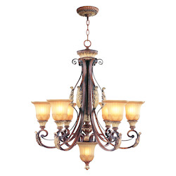 Verona Bronze 6 Light 600W Chandelier With Medium Bulb Base And Rustic Art Glass From Villa Verona Series