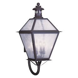 Bronze 4 Light 240 Watt 15in. Wide Outdoor Wall Sconce with Seeded Glass from the Waldwick Collection