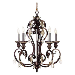 Hand Rubbed Bronze With Antique Silver Accents Up Chandelier