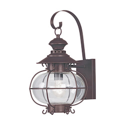 Bronze 1 Light 100W Outdoor Wall Sconce with Medium Bulb Base and Hand Blown Clear Glass from Harbor Series