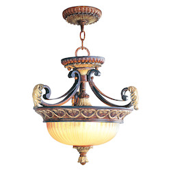 Verona Bronze 2 Light 120W Semi-Flush Ceiling Light with Medium Bulb Base and Rustic Art Glass from Villa Verona Series