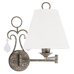 Venetian Golden Bronze Chesterfield Swing Arm Wall Sconce with 1 Light