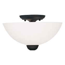 Black Brookside 7 Inch Tall Semi-Flush Ceiling Fixture with 2 Lights