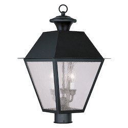Black Mansfield Post Light with 3 Lights