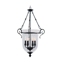 Bronze 6 Light 360W Foyer Pendant With Candelabra Bulb Base And Clear Glass From Legacy Series