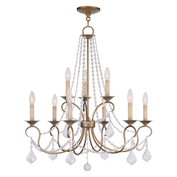 Antique Gold Leaf Up Chandelier