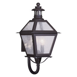 Bronze 2 Light 120 Watt 8.5in. Wide Outdoor Wall Sconce with Seeded Glass from the Waldwick Collection