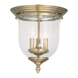 Antique Brass Legacy 12.5in. Height 3 Light Flush Mount Ceiling Fixture