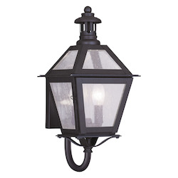 Bronze 2 Light 120 Watt 7in. Wide Outdoor Wall Sconce with Seeded Glass from the Waldwick Collection