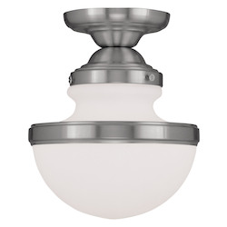 Brushed Nickel Oldwick 9.5 Inch Tall Semi-Flush Ceiling Fixture with 1 Light