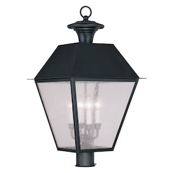 Black Mansfield Post Light with 4 Lights