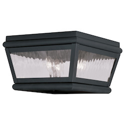 Black Exeter Outdoor Flush Mount Ceiling Fixture with 2 Lights